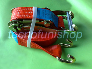 Cinghia a cricchetto ancoraggio poliestere 50mm 9,5mt ganci sponda