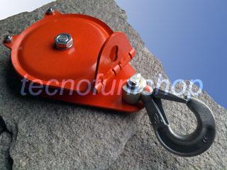 Dettaglio carrucola forestale apribile kg 4000 fune mm 10 con gancio girevole