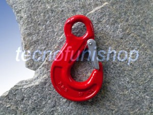 Gancio sling ad occhio in acciaio legato grado 80 con sicurezza - Gancio sollevamento