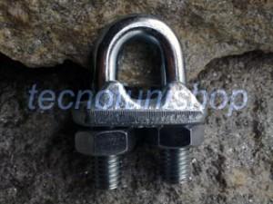 Morsetto a cavallotto in acciaio zincato per funi metalliche