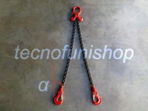 Tirante catena 2 bracci regolabile campanella ganci sling occhio grado 80