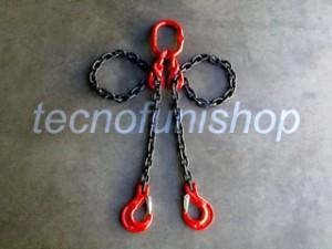 Braca catena 2 bracci regolabile campanella ganci sling forcella grado 80