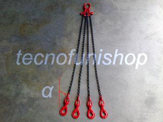 Tirante catena 4 bracci regolabile campanella ganci self locking girevoli grado 80