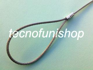 Asola piombata con manicotto alluminio su fune acciaio - Occhiello pressato cavo acciaio