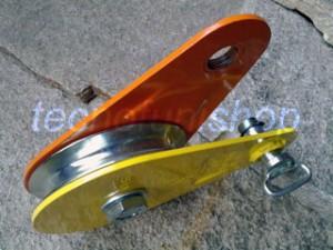 Dettaglio carrucola forestale apribile kg 5000 fune mm 14 con perno