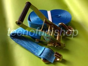 Cinghia a cricchetto ancoraggio poliestere 50mm 8mt ganci uncino