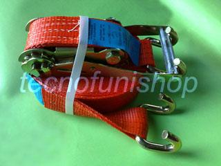 Cricchetto di ancoraggio in poliestere 50mm  9,5mt ganci sponda
