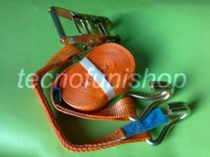 Cinghia a cricchetto ancoraggio poliestere 35mm 6mt ganci uncino