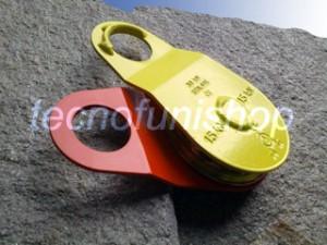 Dettaglio carrucola forestale apribile kg 3000 fune mm 10 piastre scorrevoli