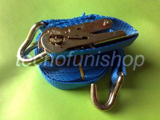 Cinghia a cricchetto ancoraggio poliestere 25mm 5mt ganci uncino