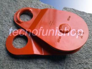 Dettaglio carrucola forestale apribile kg 5000 fune mm 14 piastre scorrevoli