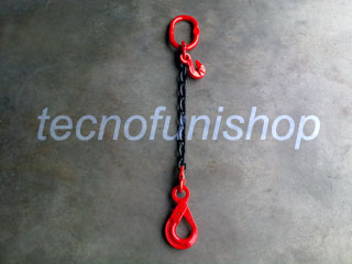 Tirante catena 1 braccio regolabile campanella gancio self locking occhio grado 80