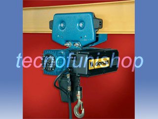 Paranco elettrico a catena kg 250 con carrello manuale a spinta