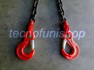 Catena sollevamento 2 bracci con ganci sling occhio grado 80