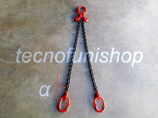 Tirante catena 2 bracci regolabile campanella superiore campanelle inferiori grado 80
