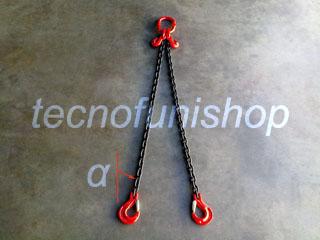 Tirante catena 2 bracci regolabile campanella ganci sling forcella grado 80