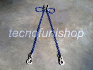 Braca catena 2 bracci regolabile campanella ganci sling occhio grado 100