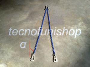 Tirante catena 2 bracci regolabile campanella ganci sling occhio grado 100