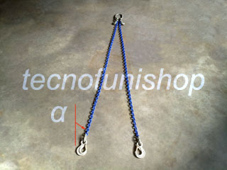 Tirante catena regolabile 2 bracci mm 10 mt 3 campanella ganci sling occhio gr100