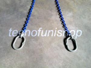 Catena sollevamento 2 bracci con campanelle ovali grado 100