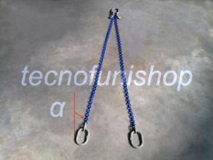 Tirante catena 2 bracci regolabile campanella superiore campanelle inferiori grado 100
