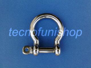 Grillo ad omega in acciaio inox AISI 316 con perno a vite  8mm