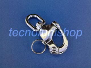 Moschettone a sgancio rapido in acciaio inox AISI 316 con occhio girevole - Moschettone rapido inox con girello ad occhio