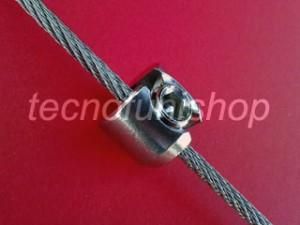 816C Morsetto inox cilindrico ad un grano per pannelli e ripiani orizzontali sospesi su funi acciaio