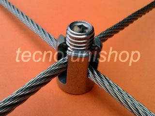 816T Morsetto ad incrocio a 90° in acciaio inox per grigliati e reti in fune metallica