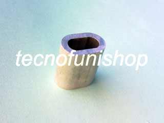 Manicotto in lega di alluminio EN 13411-3 per crimpare e piombare asole in fune di acciaio
