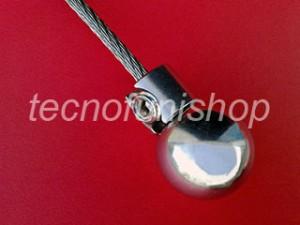 Morsetto inox cilindrico con sfera per pannelli e ripiani finali sospesi su funi di acciaio per arredamento