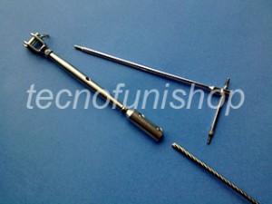 A28 Tenditore a forcella in acciaio inox per fune metallica a montaggio manuale rapido senza pressatura
