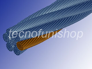 Fune acciaio 216 fili anima metallica Warrington Seale 6x36WS + IWRC crociata destra - Cavo acciaio 265 fili