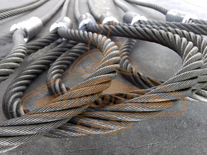 Lavorazione cavi di acciaio zincato con asole