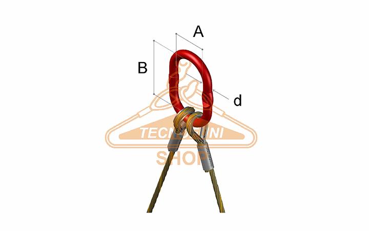 Dimensioni anello ovale piombato su tirante in fune di accaio 2 bracci
