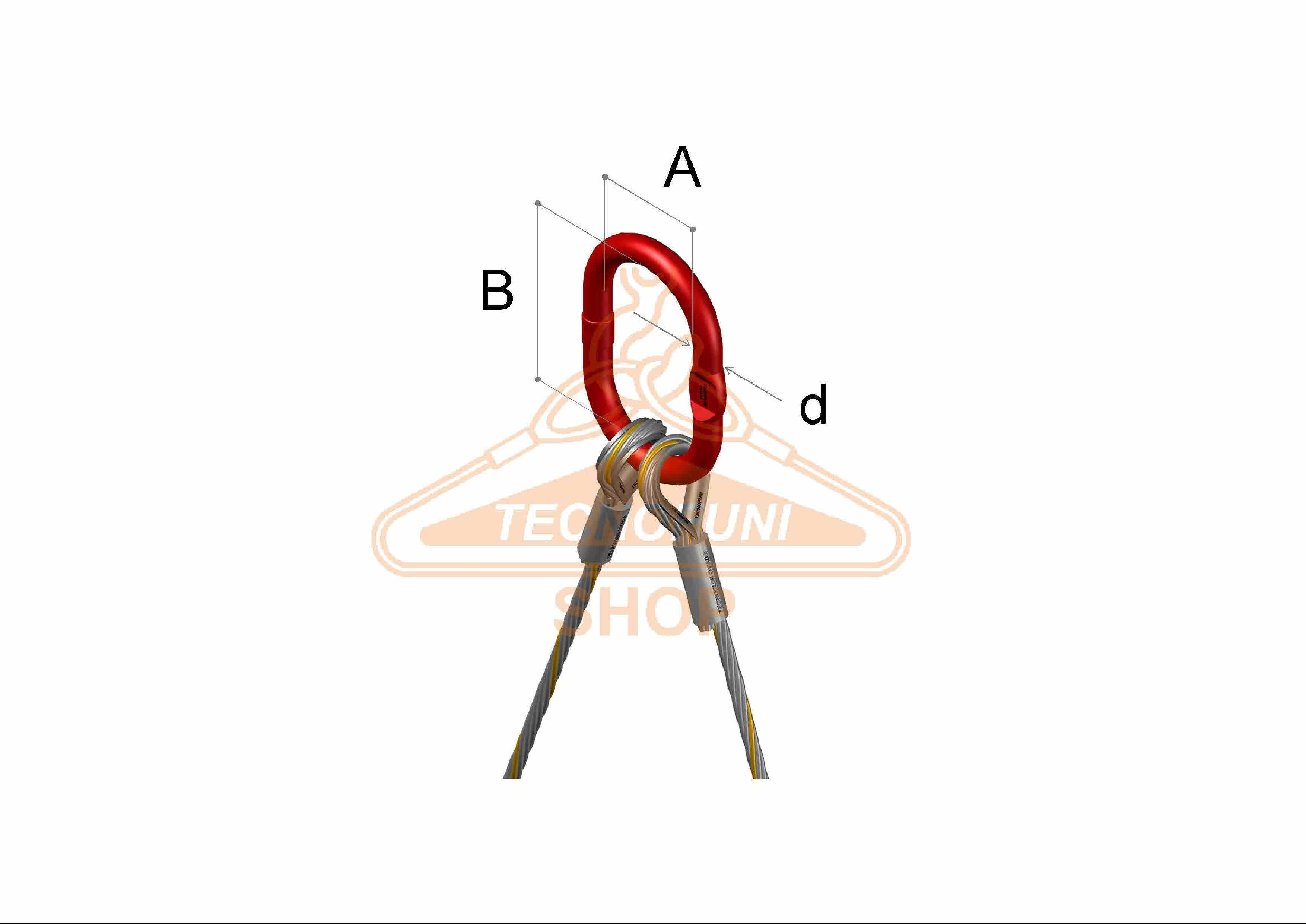 Dimensioni campanella pressata su tirante 2 bracci in fune di accaio zincato