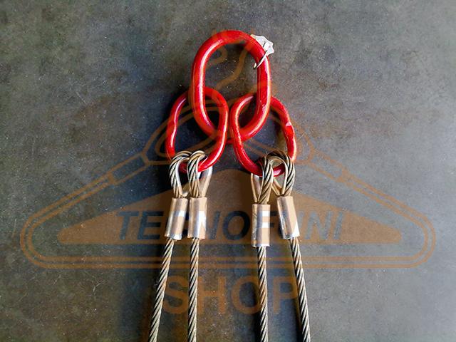 Produzione tiranti a 4 bracci in fune di acciaio con accessori maggiorati