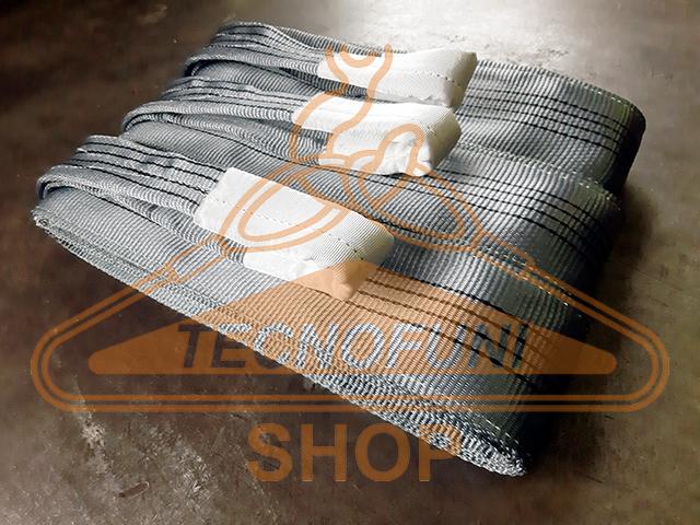 Brache di nastro poliestere grigio con asole protette per sollevamento portata kg 4000